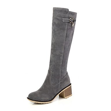 RTRY Zapatos De Mujer Otoño / Invierno Botas De Montar / Round Toe Botas / Vestimenta Casual Chunky Talón Zipper Negro / Gris / Almendra US9.5-10 / EU41 / UK7.5-8 / CN42
