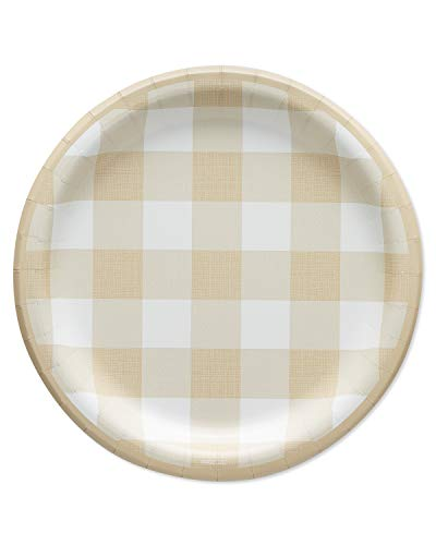 Thanksgiving Appetizer Plates (American Greetings Thanksgiving Party Supplies, Plaid Paper Dessert Plates)