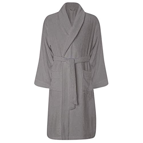 (HULKAY Solid Color Large Size Bathrobe for Men Long Sleeve Plush Shawl Fashion Charm Tops Robe)