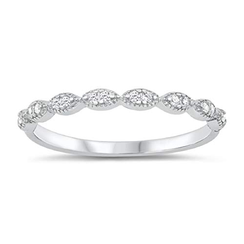 Blue Apple Co. 2mm Art Deco Half Eternity Band Ring Round Cubic Zirconia 925 Sterling Silver Size-7
