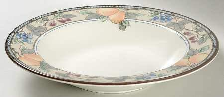 Set of 4 Mikasa Garden Harvest Large Rim Soup Bowls, Fine China Dinnerware