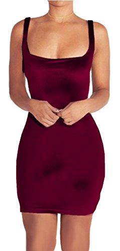 Longwu Women's Sexy Velvet Sleeveless Bodycon Cocktail Slim Fit Evening Party Dress Wine red-M