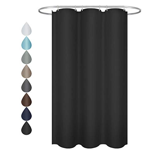 - Eforgift Contemporary Small Shower Curtain Polyester 100% Waterproof Dark Color Shower Curtain Fabric Black with Rust Proof Metal Grommets, 36 inches x 72 inches