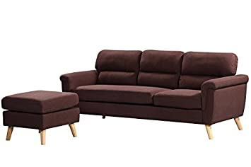 Harper Bright Designs Sectional Sofa Fabric Living Room Sofa Set Collection Taupe with Curled Handrails and Nail Head Trim Upholstered Couch Dark Brown