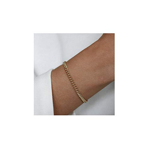 Mevecco Gold Link Chain Bracelet,14K Gold Plated Cute Dainty Boho Curb Stacking Link Chain Minimalist Simple Fashion Bracelet for Women