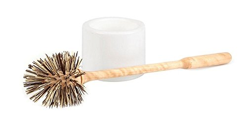Iris Hantverk Birch Wood Toilet Brush and White Holder