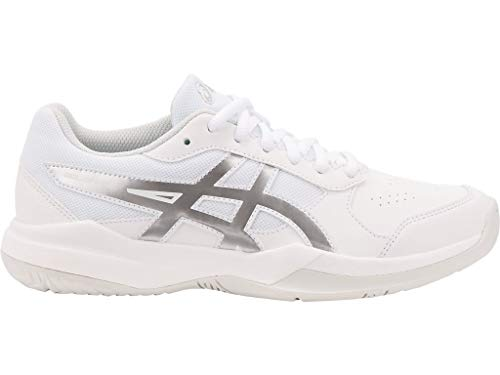 ASICS Kid's Gel-Game 7 GS Tennis Shoes, 4.5, White/Silver