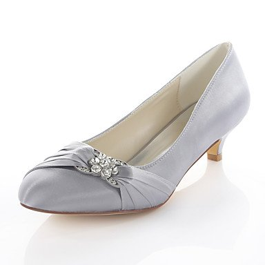 amp;Amp; Spring 5 Women'S EU38 5 CN38 Shoes Basic 4In 1In Stretch Wedding Party Satin Ruby Crystal Dress Pump Blue Fall Evening UK5 US7 RTRY Silver Heel Kitten 1 3 Sqv0wS
