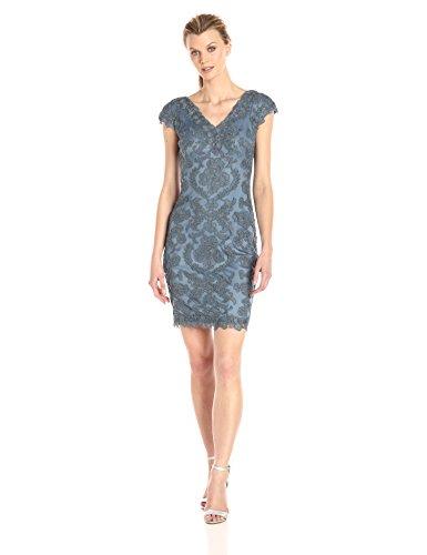 Tadashi Shoji Women's V Neck Corded Lace Dress, Steel Blue, 6