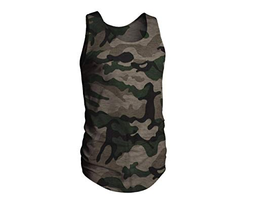 Men Short Sleeve Camouflage T-Shirt Sport Fitness Tee Athletic Muscle Bodybuilding Tank Tops (L, Tank Top)