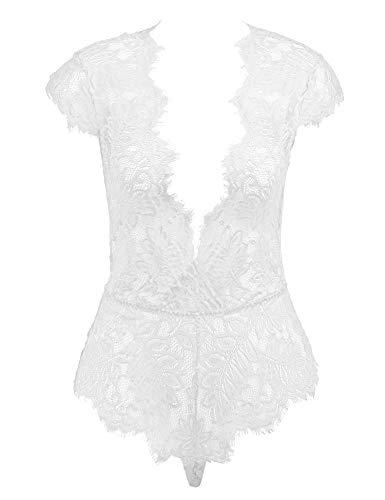 (Amorbella Women's Eyelash Lingerie Outfits One Piece Deep V Teddy Sexy Lace Bodysuit Underwear(White,)