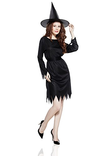 Adult Women Witch Costume Evil Enchantress Halloween Cosplay Role Play Dress Up (Small/Medium, Black)