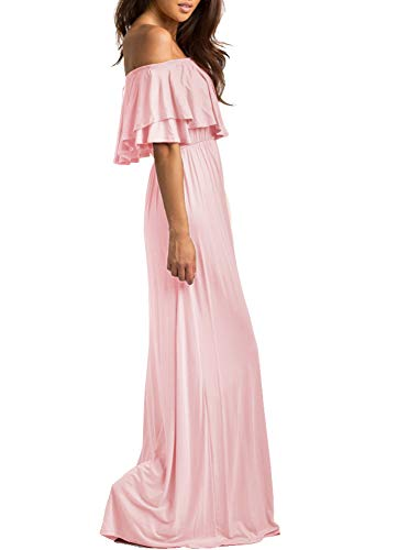f53ce78f8ed9f ReoRia Women Summer Casual Off Shoulder Loose Ruffles Long Maxi Dresses  with Sleeves Maternity Dress Blush