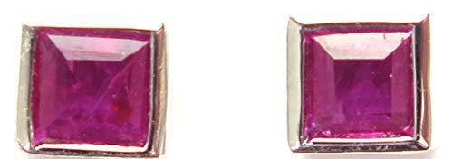 (14k White Gold Genuine Ruby=.24ct Tiny Square Bezel Stud Earrings)
