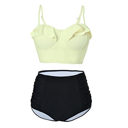 Passionate Adventure Strappy Push Up Bathing Suit Flouncing Swimsuit High Waisted Bikini Monokini Swimwear Beige S(US 2-4)