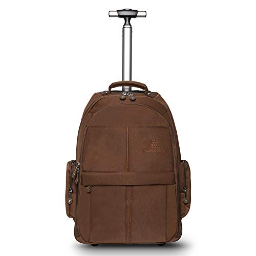 WEISHENGDA 19 inches Waterproof Wheeled Rolling Backpack for Men and Women Business Laptop Travel Backpack Bag, Brown (Back Bag Wheeled)