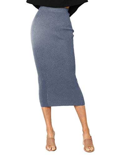 NAFOUR Women's High Waist Rib-Knit Sweater Skirt Stretchy Bodycon Pencil Skirt Party Club Maxi Skirt Blue