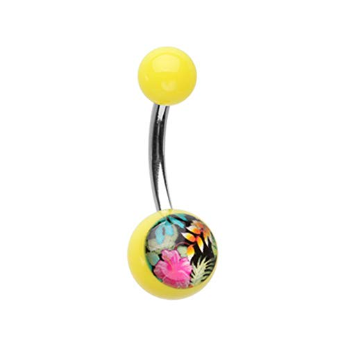 tropical flower belly ring - 5
