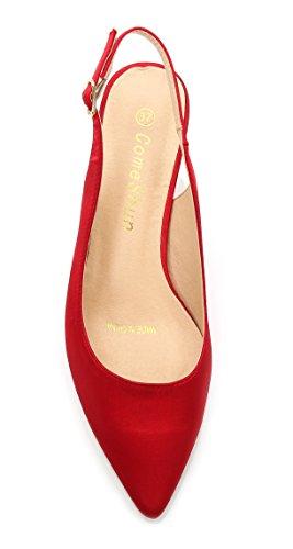 chiusura con cinturino da ComeShun Red di scarpe tallone con dietro il tacchi eleganti donna Scarpe nqwYnItU