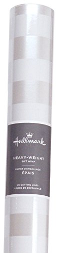 - Hallmark Wrapping Paper with Cutting Lines (Pearlized Wedding Striped, Single Roll, 27 Total Sq. Ft.)