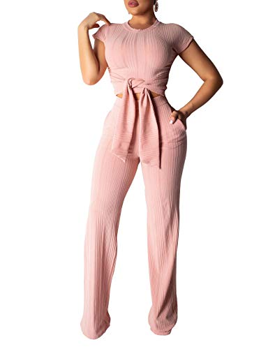 Remelon Womens Short Sleeve Ribbed Tie Up Crop Top Pockets Loose Long Pants Set 2 Piece Outfits Jumpsuits Pink - Pants Ribbed Knit