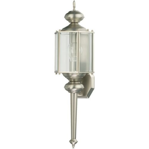 Quorum International Q712 Lantern 1 Light Outdoor Wall Sconce, Satin Nickel