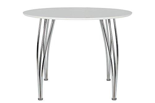 Novogratz Round Dining Table with Chrome Plated Legs, White by Novogratz (Image #1)