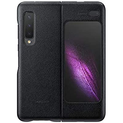 Samsung Galaxy Fold Leather Wallet Protective Folding Smartphone Case with Interior Card Pocket Made with Genuine Italian Calf Leather  Black