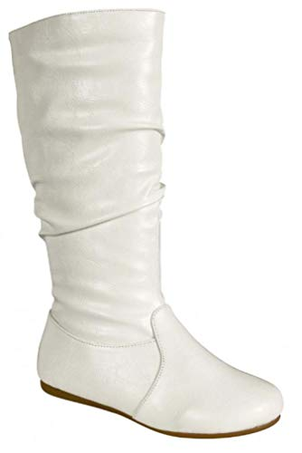 Wells Collection Womens Boots Soft Slouchy Flat to Low Heel Under Knee High, White, -