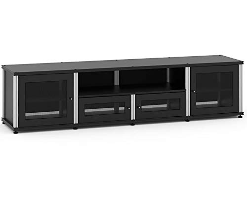 (Salamander Designs 245B/A Quad-Width Audio Video Cabinet, Black with Aluminum Posts)