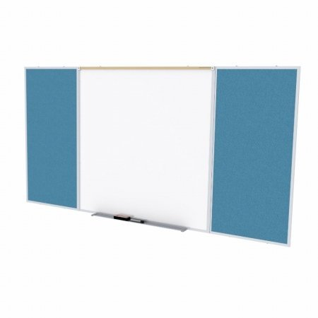 Ghent SPC48D-V-191 4 ft. x 8 ft. Style D Combination Unit - Porcelain Magnetic Whiteboard and Vinyl Fabric Tackboard - Ocean