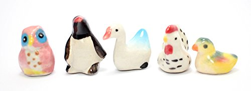 Figurine Dollhouse Miniatures Animals Ceramic Collectible set 5 pcs. Unpainted Ceramic Figures