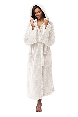 Vogue Bridal Unisex Soft Plush Coral Fleece Robe Plus Long Hooded Spa Bathrobe, White M/L