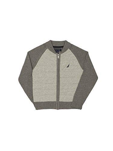 (Nautica Boys' Little Quilted Full Zip Baseball Style Sweater, Grey Heather, 7)