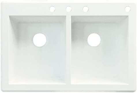 Transolid RTDE3322-01-CBDE Radius Granite 4-Hole Drop-In Double-Bowl Kitchen Sink White 18.11 x 13.78 x 9