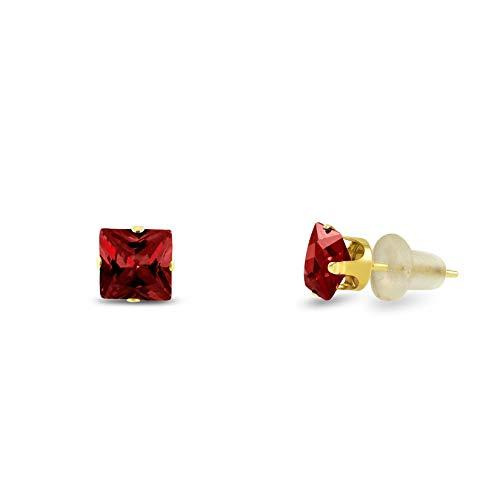 3x3mm Square Princess Cut Red Garnet CZ Solid 10K Yellow Gold 4-Prong Set Stud Earrings