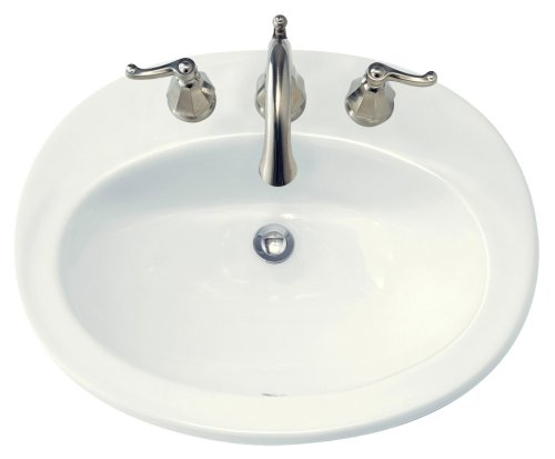 American Standard 0478.803.020 Piazza Self Rimming Front Overflow Countertop Sink with 8-Inch Centers, White