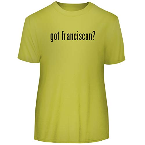 One Legging it Around got Franciscan? - Men's Funny Soft Adult Tee T-Shirt, Yellow, ()