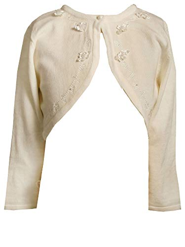 Bonnie Jean Little Girls 2T-6X Ivory Embroidered Beaded Rosette Cotton Cardigan Sweater, Ivory,2T