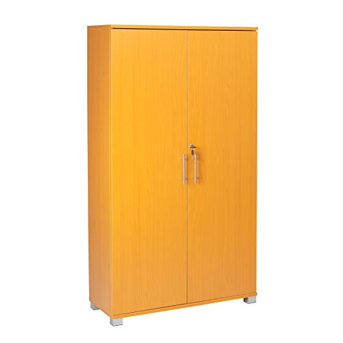 MMT Tall 2 Door Bookcase Pantry Cabinet/Office Kitchen Home Organiser Cupboard Filing Storage Stationary Cabinet - Office Furniture 4 Shelves - 31.5