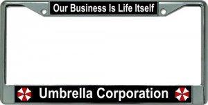 Umbrella Corporation Our Business Chrome License Plate - Plate Umbrella License
