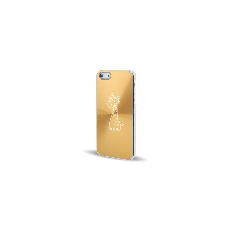 Apple iPhone 5 5S Gold 5C66 Aluminum Plated Hard Back Case Cover Cute Giraffe Cartoon