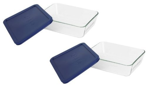 (Pyrex COMINHKR067794 6017400 Simply Store 6-Cup Rectangular Bakeware Dish, 6 Box of 2 Containers, Clear; Blue Cover)
