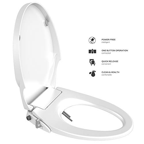 Toilet Seat Bidet Seat with Self Cleaning Dual Nozzles Non electric Separated Rear & Feminine Cleaning Natural Water Spray, soft close toilet seat,Easy DIY Installation