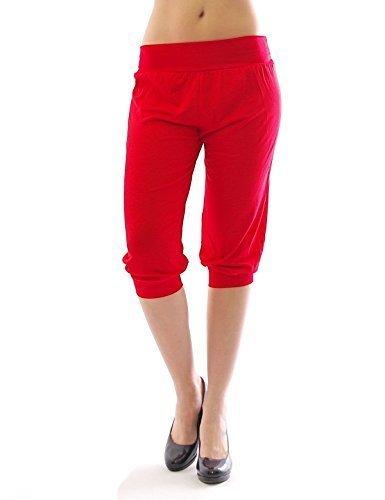 Harem Harems Aladin Pantalon POMPE CAPRI 3/4 haute couleur Leggings Baggy été - rouge, XXL