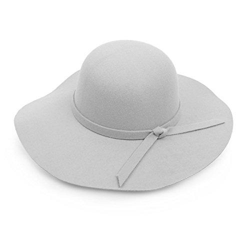Bowknot Wide Brim Floppy Hat (Silver)