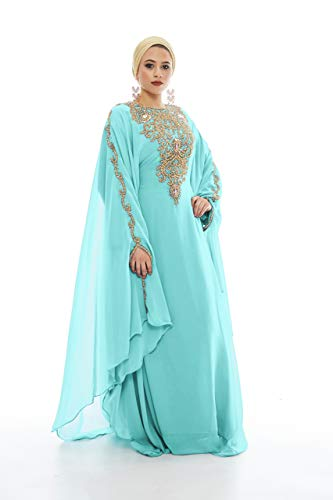 - Covered Bliss Lanya Kaftan for Women-Long Sleeve Maxi Dress, Gown Formal Lounge Wear (Sea Green)