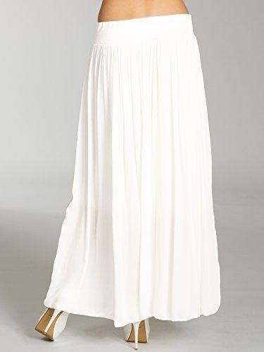 Caspar, RO012- Maxi falda para mujer blanco