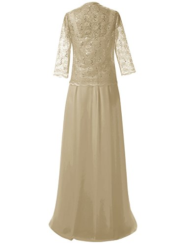 der Champagner Braut Abendkleider Jacke Lang mit Spitze Mutter Chiffon Kleider Damen Festkleid PwwA7