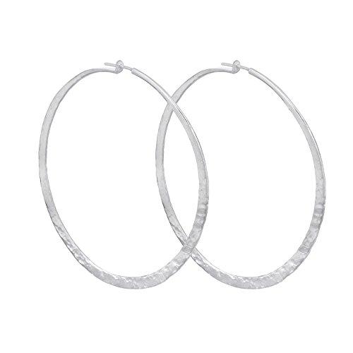 Sterling Silver Handmade Organic Hammered Hoop Large Earrings (3'' Diameter) (sterling-silver) by Jewels By Atlantis